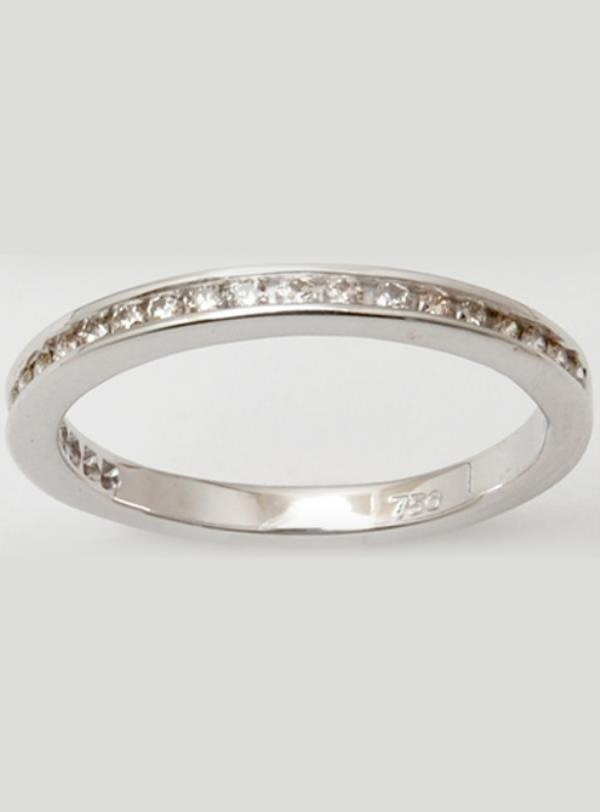 Sleek Channel Set Diamond White Gold Band Ring Under 500 $