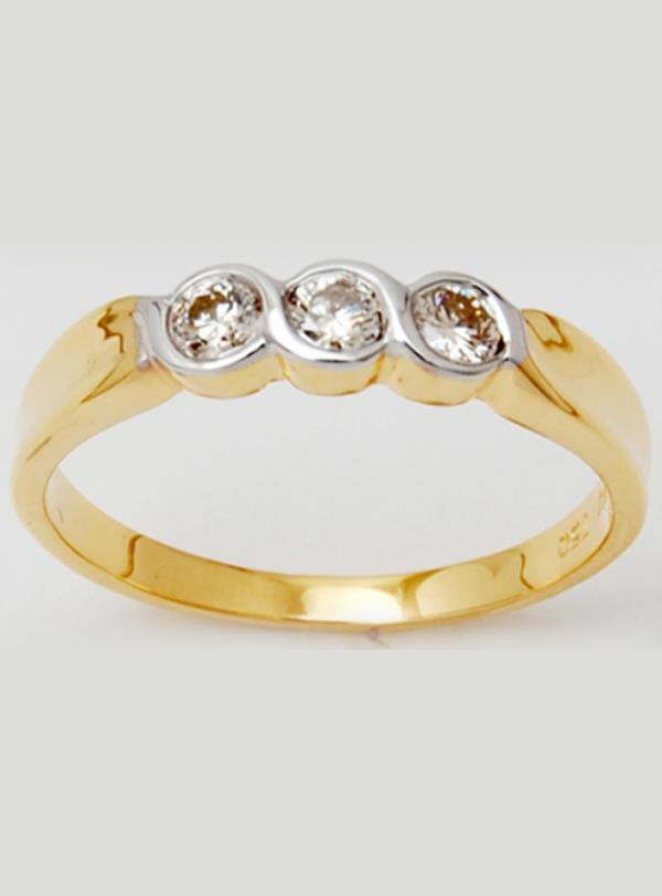 Twisted Top Three Stone Bezel Set Yellow Gold Band For Women