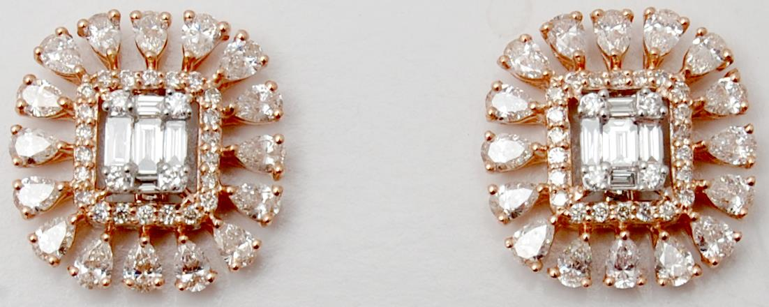 Heavy Look Rose Gold Pear Cut Diamond Studs Manufacturer