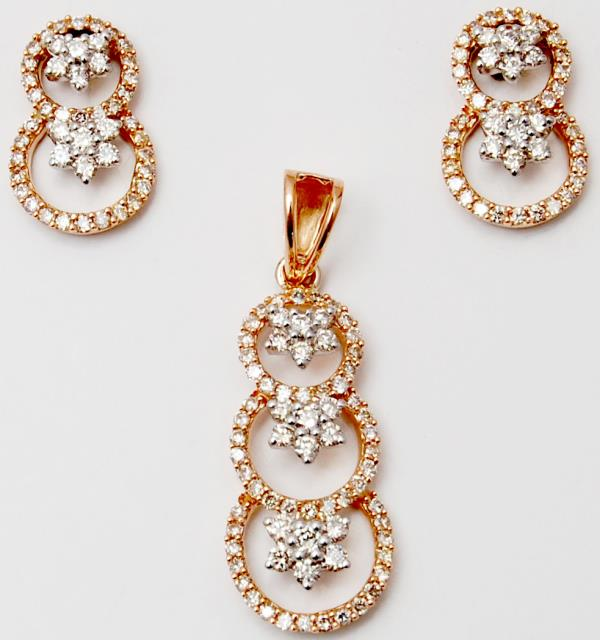 Round Diamond Half Cluster Ascending Halo Rose Gold Designer Pendant Set