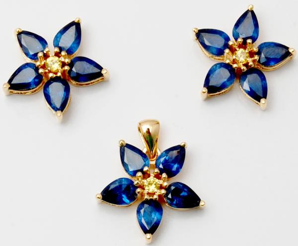 Blue Sapphire Floral Tiny Pendant Earrings Set In Yellow Gold