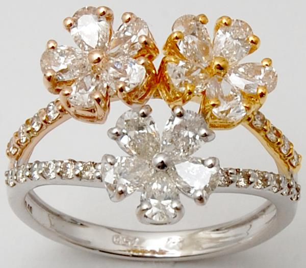 Designer Flower Pear Cut Diamond Three Tone Gold Ring For Sale