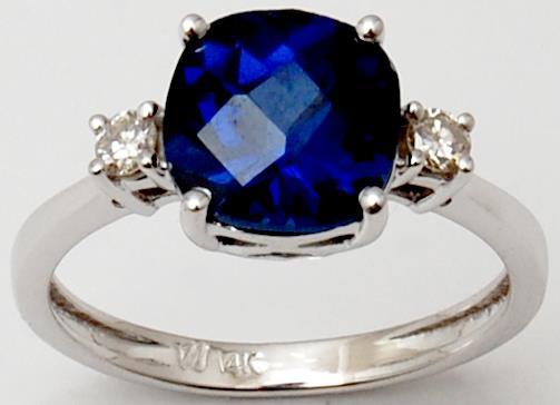Cushion checker Cut Plain Blue Sapphire Diamond White Gold Unisex Ring