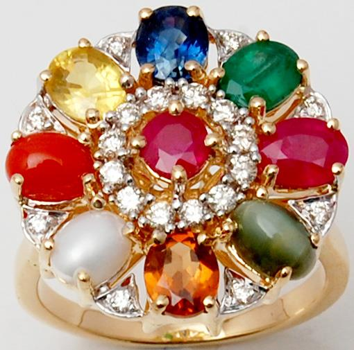 Navratna Big Yellow Gold Colorful Gems Ring On Sale