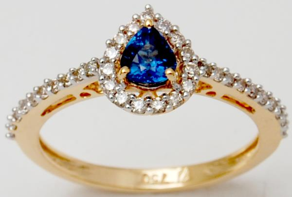 Tiny Pear Cut Blue Sapphire Affordable Yellow Gold Ring