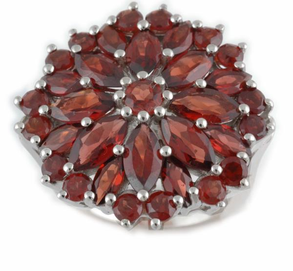 Big Floral Marquise Cut Garnet Silver Ring Supplier