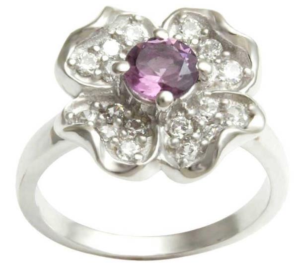 Floral Single Stone Silver Engagement Ring Under 50 USD