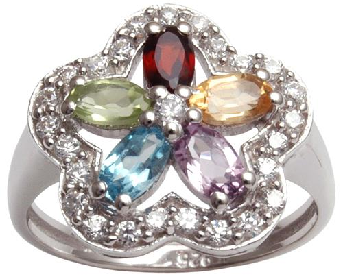 Multi Colour Stone Floral Wavy CZ Halo Silver Ring