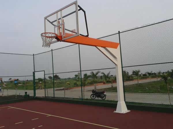 """Excel Basketball poles set Championship International pattern: 3.2 meters with 12 mm toughen board 12""""x6"""" heavy right angle pipe with dunking ring and net. Foundation Bolt Installation is required. Basic Price:- 150000 per set"""