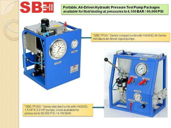 Portable, Air-Driven Hydraulic Pressure Test Pump Packages