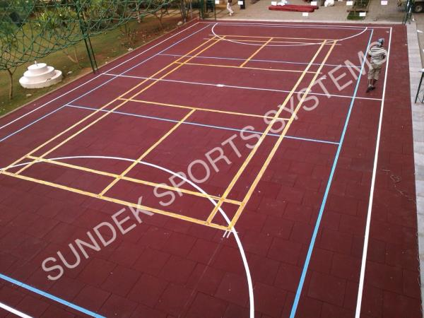 Rubber Tiles Flooring Badminton Court