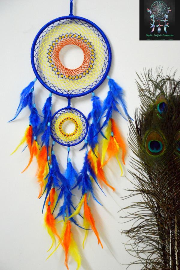 Mystic Blue, Yellow & Orange Dreamcatcher
