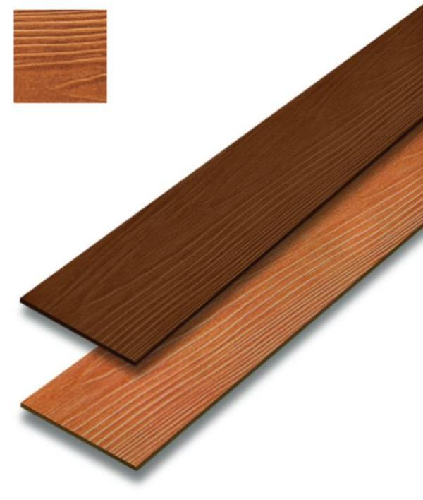SCG Smartwood Wood Plank comes in variety of pattern, texture and color. It is suitable for both interior and exterior use. Basic Data Factory color coating  Consists of 3 color series  1. Natural color series – Golden Teak, Red Maka, Walnut  2. Classic color series – Ivory, Sky, and Oak Red  3. Glossy color series (Wow) – Glossy Golden Teak, Glossy Red Maka, Glossy Pradoo  Size 15x300x0.8 cm  Weight 5.4 Kg  Usage quantity 2.7 pcs/sqm - The texture is like the real wood, a detailed grain with alternating dark and light shades. - The color is not sloughing and durable, due to a special coating technology for both the primer and the top coated color. - Ease-to-use assembly kit for installation and decoration. Size 15 x 300 cm Weight 5 kg