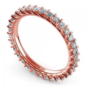 REAL NATURAL ROUND Cut DIAMOND 18KT ROSE GOLD ETRNITY RING