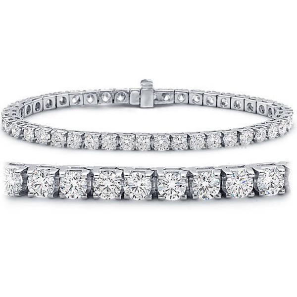REAL NATURAL ROUND CUT DIAMOND 14KT WHITE GOLD TENNIS BRACELET