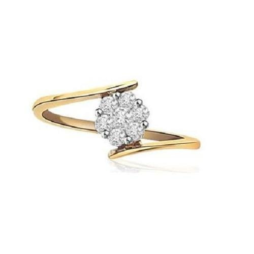 #REAL NATURAL ROUND CUT DIAMOND 14KT YELLOW GOLD RING