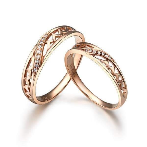 #REAL #NATURAL #ROUND #CUT #DIAMOND #18KT #ROSE #GOLD  #BEAUTIFUL #WEDDING #COUPLE #BAND