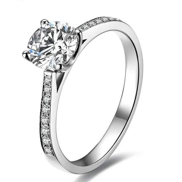 #REAL #NATURAL ROUND CUT #NOT #TREATED #DIAMOND 18KT WHITE GOLD #ENGAGEMENT #RING