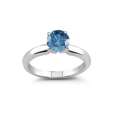 NATURAL ROUND CUT BLUE DIAMOND 14KT WHITE GOLD BEAUTIFUL RING