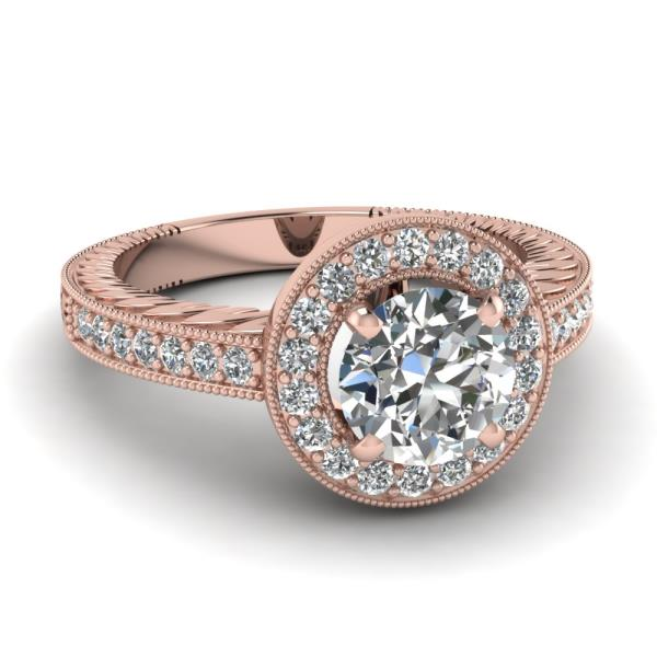 REAL NATURAL ROUND CUT DIAMOND 14KT ROSE GOLD BEAUTIFUL WEDDING RING