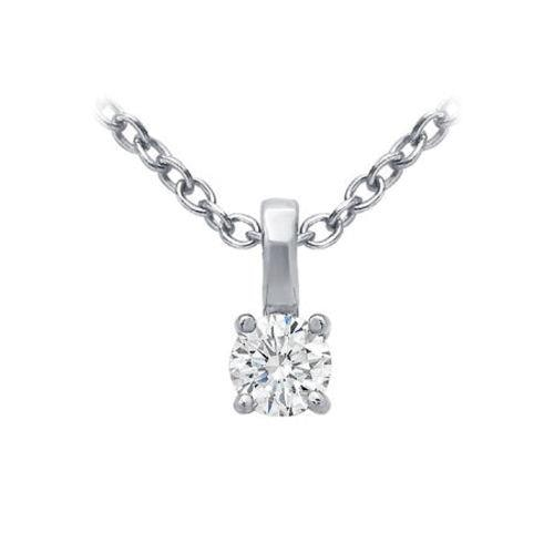14KT WHITE GOLD REAL NATURAL ROUND CUT NOT ENHANCED DIAMOND SOLITIRE PENDANT WITHOUT CHAIN