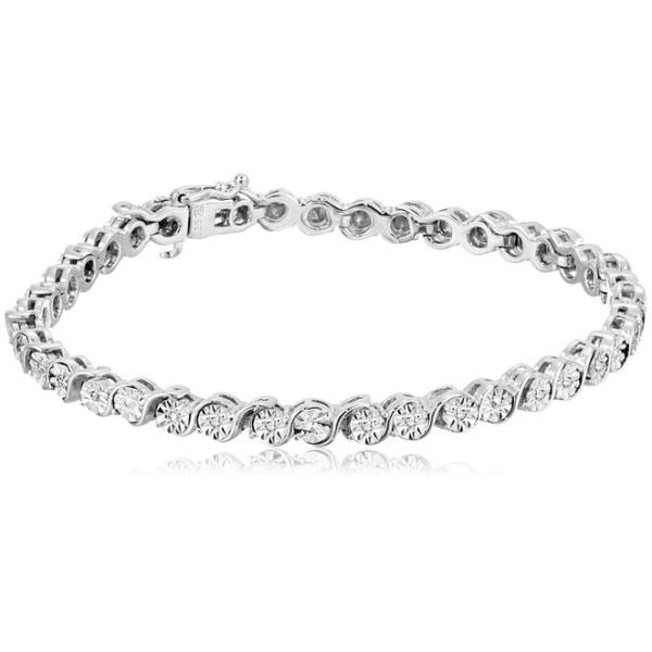 REAL NATURAL ROUND CUT NOT TREATED DIAMOND 925 SILVER TENNIS BRACELET