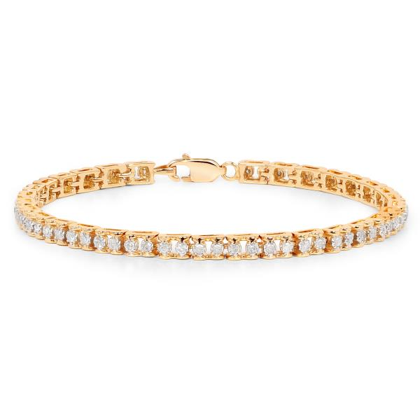 REAL NATURAL ROUND CUT NOT TREATED DIAMOND 14KT YELLOW GOLD TENNIS BRACELET