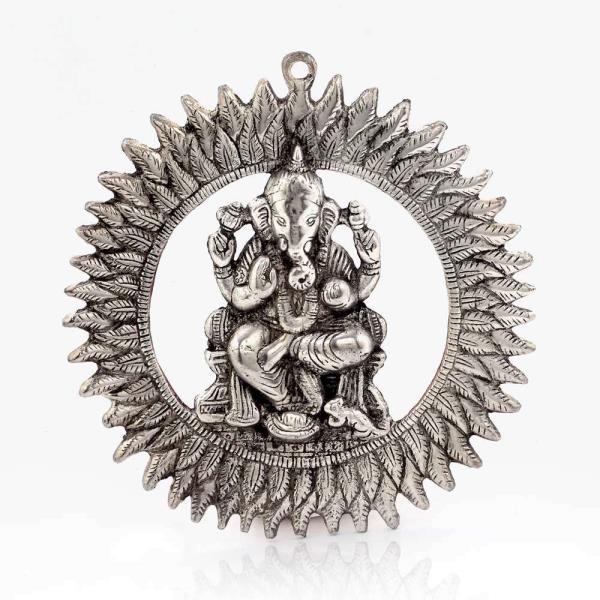 Unique White Metal Chakra Ganesha Idol Hanging 314