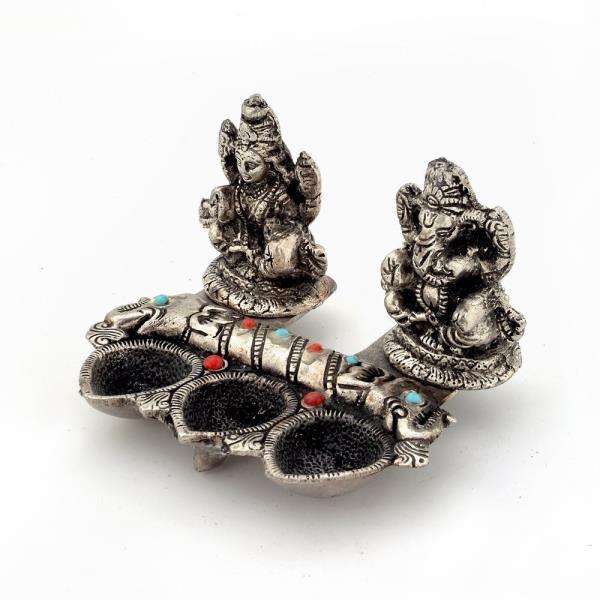 White Metal Lord Laxmi Ganeshas With Diya Set 316