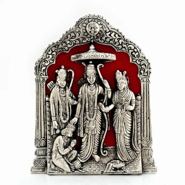 Antique Lord Ram Darbar Idol in White Metal 360