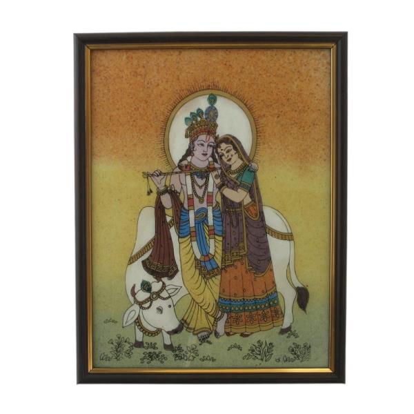 Divine Lovers Radha Krishna Gemstone Painting 138