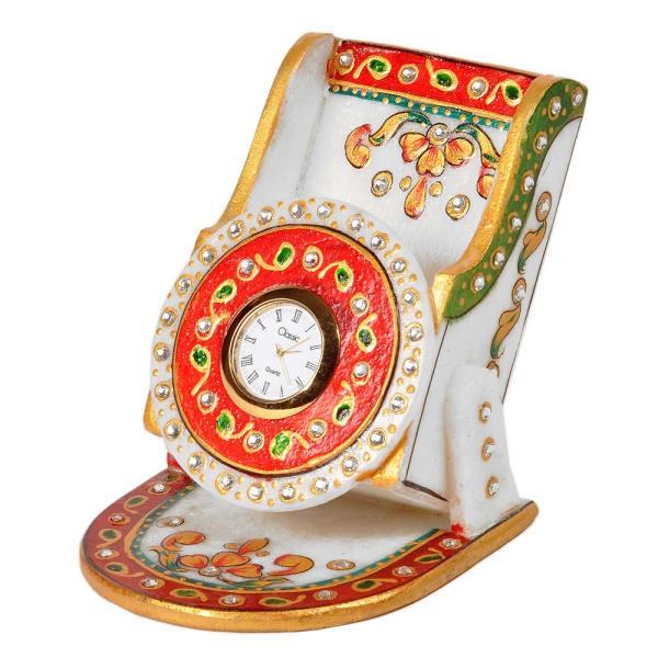 Kundan Meenakari Marble MobileStand with Clock 278