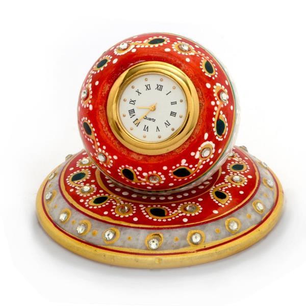 Beautiful Golden Meenakari Work Marble Table Clock 384