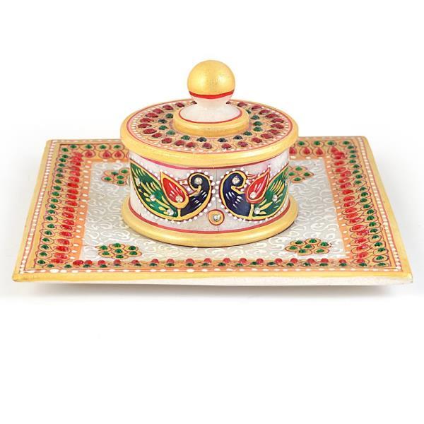 Gold Meenakari Work Marble Jewellary Box n Tray 391