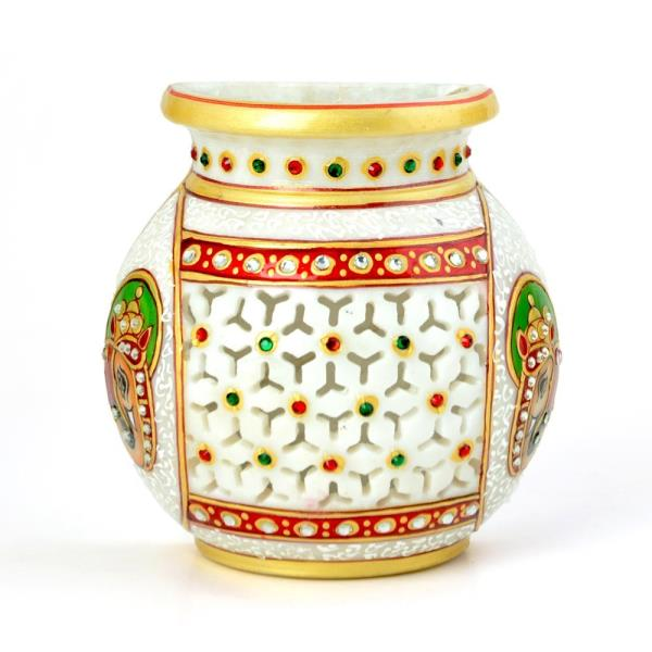 Golden Meenakari Jali Cut Work Hanging Flower Vase 400