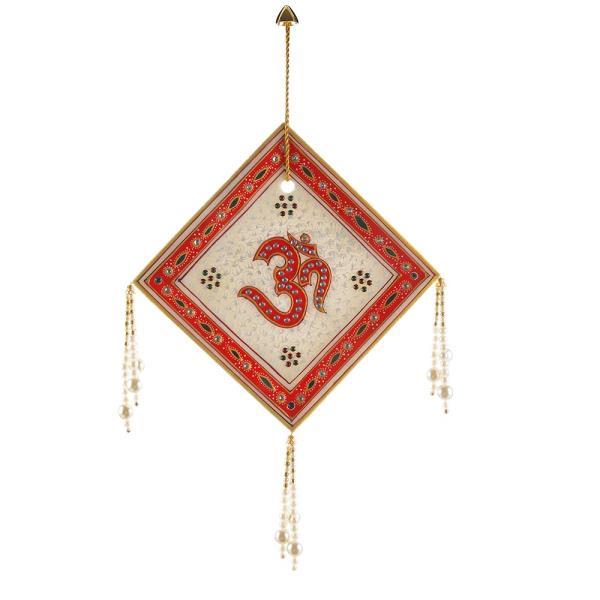 Rajasthani Square Designer Om Marble Wall Hanging 442