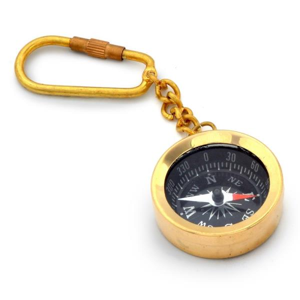 Antique Brass Handcrafted Compass in Keychain 161
