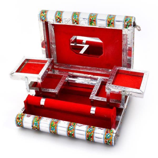 Colorful Mayur Meenakari Work Red Jewellery Box 370