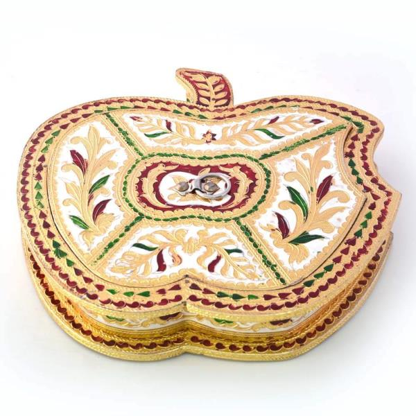 Golden Meenakari Work Apple Design Dryfruit Box 424