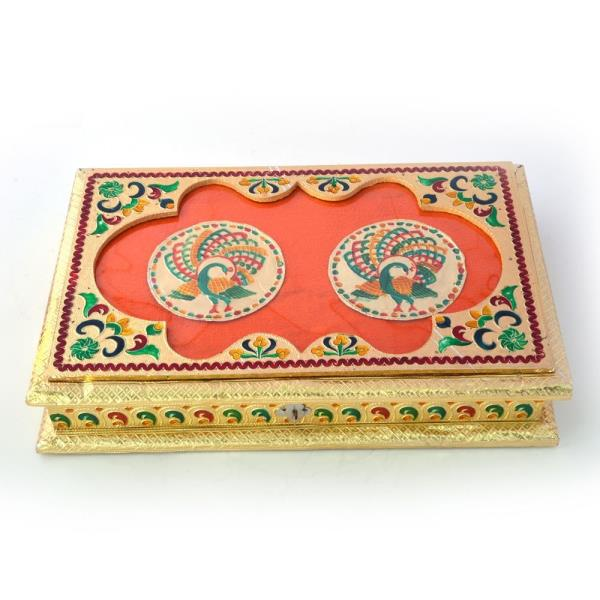Golden Meenakari Peacock Pair Design Dryfruit Box 431
