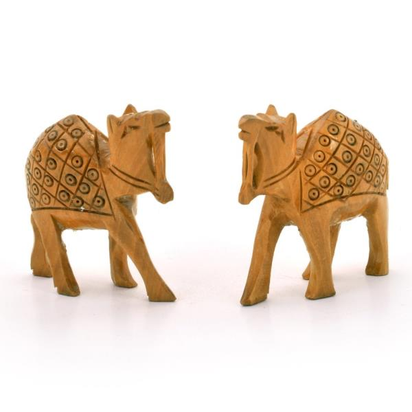 Hand Carved Wooden Camel Pair Handicraft Gift 128