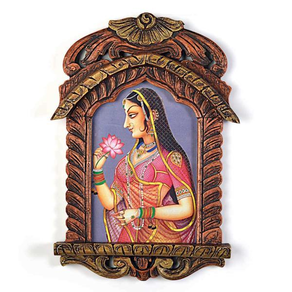 Rajasthani Lady with Lotus Wooden Jharokha Gift 245