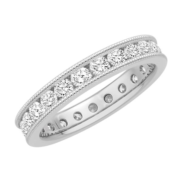 REAL NATURAL ROUND CUT NOT TREATED DIAMOND 14KT WHITE GOLD ETERNITY RING