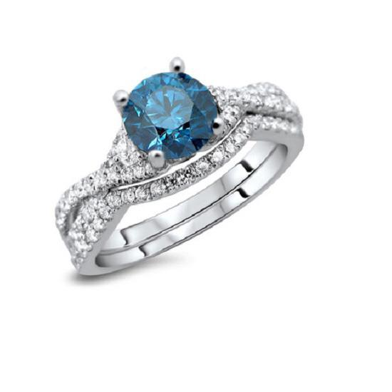 14KT WHITE GOLD REAL ROUND CUT DIAMOND BEAUTIFUL SOLITAIRE BLUE DIAMOND RING