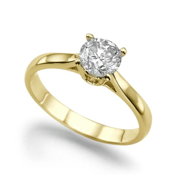 14KT YELLOW GOLD REAL NATURAL ROUND CUT NOT ENHANCED DIAMOND BEAUTIFUL SOLITAIRE RING