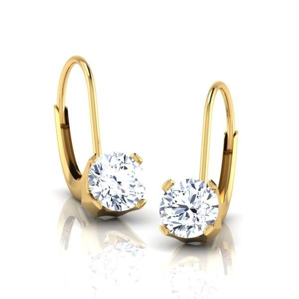 REAL NATURAL ROUND CUT NOT TREATED DIAMOND 18KT YELLOW GOLD BEAUTIFUL STUD EARRING