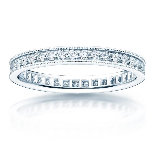 REAL NATURAL ROUND CUT NOT TREATED DIAMOND 14KT WHITE GOLD BEAUTIFUL ETERNITY RING