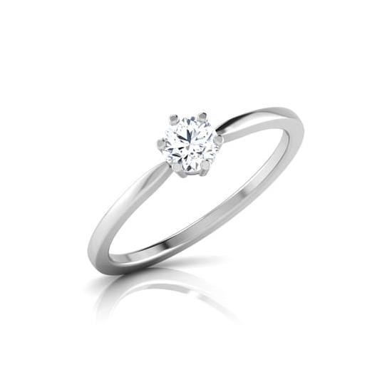 REAL NATURAL ROUND CUT NOT TREATED DIAMOND 14KT WHITE GOLD BEAUTIFUL SOLITAIRE RING