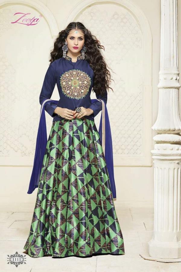 Fiona Zeeya Nazrana Indo Western Style Blue Designer Suits