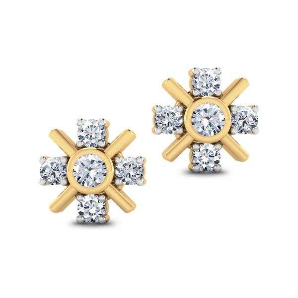 18KT YELLOW GOLD REAL NATURAL ROUND CUT DIAMOND ATTRACTIVE EARRING